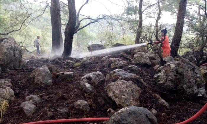 Kemer'de çıkan orman yangını büyümeden söndürüldü